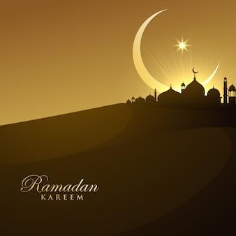 Belle mosquée silhouette en nuit avec croissant de lune et d'étoile