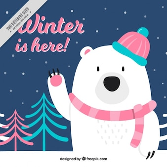 Belle polaire fond d'ours avec un foulard et le chapeau