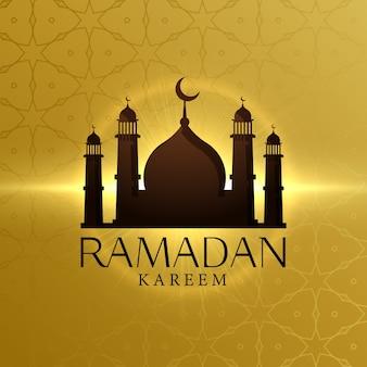 Belle ramadan kareem fond avec mosquée silhouette
