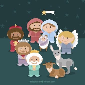 Belle scène de la nativité avec les sages