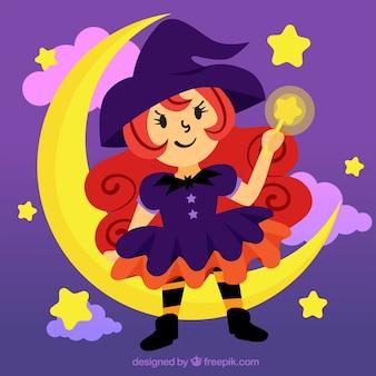 Belle sorcière assise sur la lune