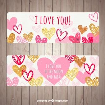 Belles bannières avec différents types de coeurs