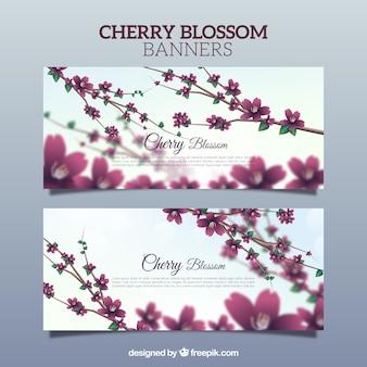 Belles bannières floues de fleurs de cerisier