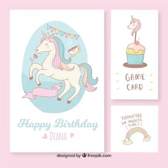 Belles cartes d'anniversaire avec une licorne dessinée à la main