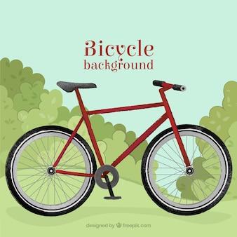 bicyclette rouge dans un fond de campagne
