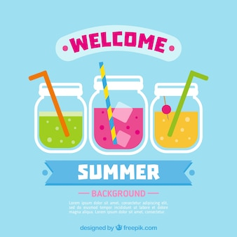 Bienvenue, fond d'été avec des boissons