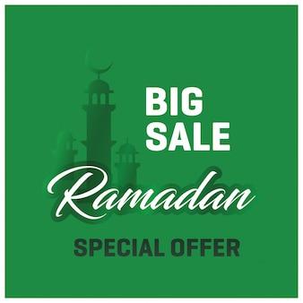 Big Sale Ramadan Kareem Offre spéciale Fond vert