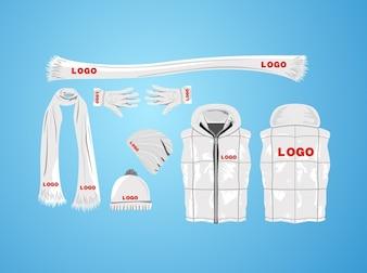 Blanc collection de vêtements d'hiver