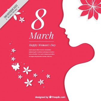 Blanc silhouette femme silhouette fond avec des détails floraux