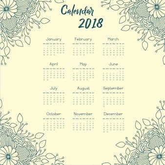 Bleu Calendrier annuel floral Mandala 2018