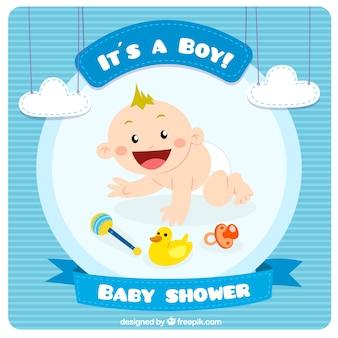 Bleu carte de douche de bébé dans le style mignon