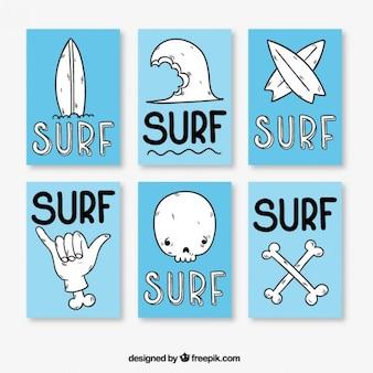 Bleu et de surf blanc posters