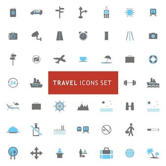 Bleu et Gris Voyages et tourisme icons set