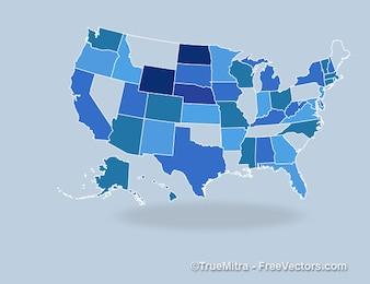 Bleu états américains bannières vecteur ensemble
