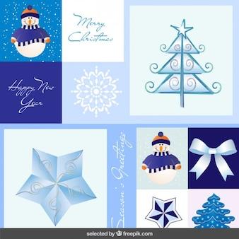 Bleu étiquettes collection noël