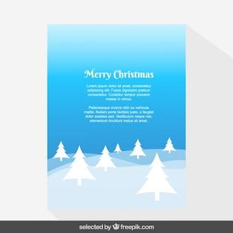 Bleu paysage avec des arbres carte de Noël
