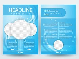 Blue A4 Brochure Modèle de mise en page avec place de photo en cercle