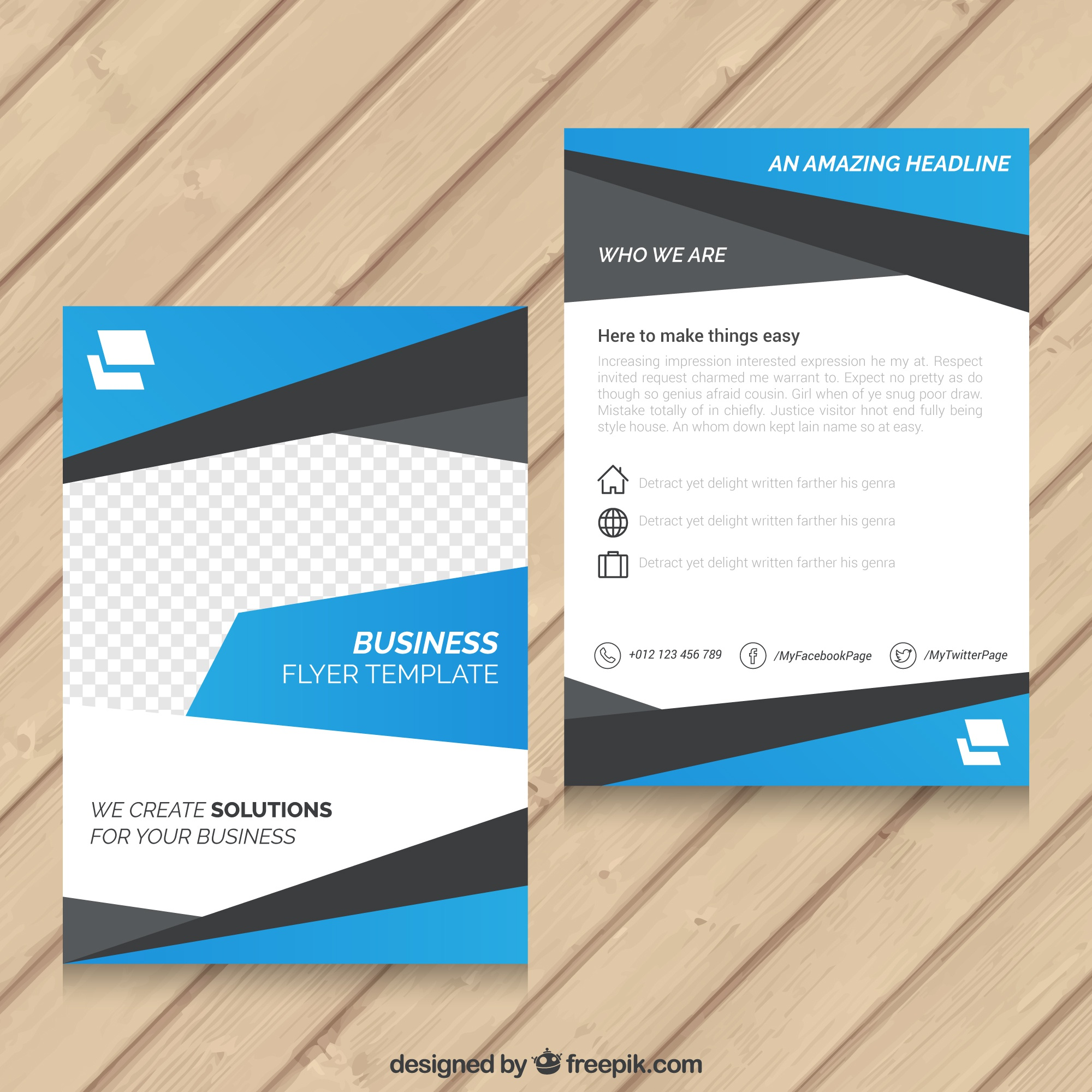 Blue abstract flyer template d'affaires