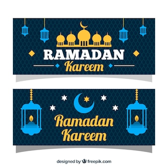 Blue and glod ramadan kareem banner