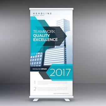 Blue business roll up banner standee template design