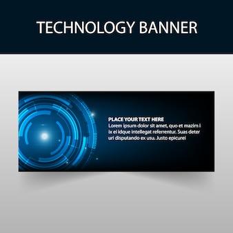 Blue technology abstract banner template design