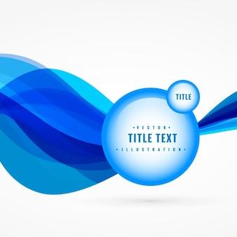 Blue Wave abstrait avec le vecteur de l'étiquette