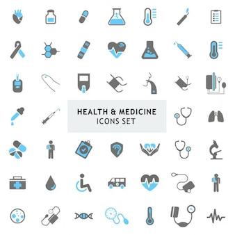 Blur et Gray coloré Médecine Santé Icons set