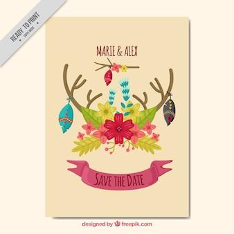 Boho carte de voeux avec décoration florale