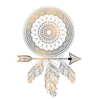Boho style dessinée Dream Catcher avec un motif floral ethnique, des flèches et des plumes.