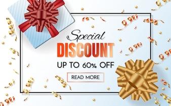 Boîte cadeau vente modèle bannière Vector background