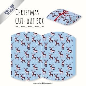 Boîte de rennes de Noël découpée boîte