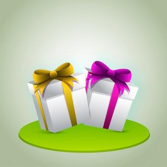 Boîtes cadeaux 3D en blanc avec des rubans brillants.