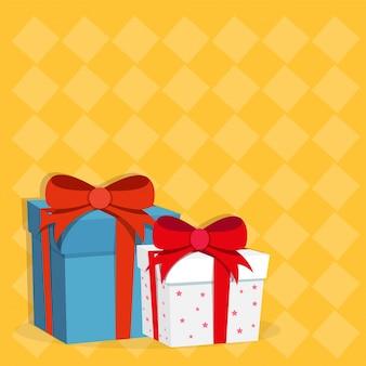 Boîtes cadeaux en 3D bleu et blanc avec des rubans rouges.