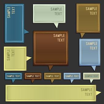 Boîtes de message de vecteur avec l'espace pour le texte