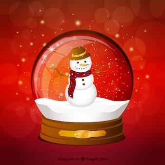 Bonhomme de neige dans une boule de cristal