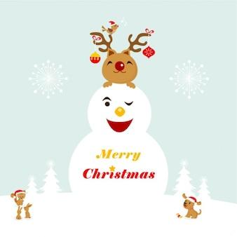 Bonhomme de neige heureux avec un renne sur le dessus