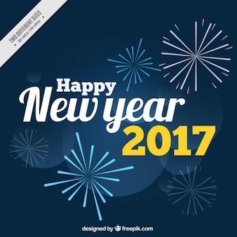 Bonne année 2017 fond avec des feux d'artifice