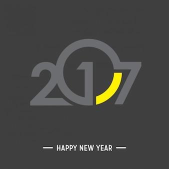 Bonne Année 2017 Jaune et Fond noir