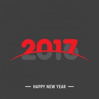 Bonne Année 2017 noir et fond rouge