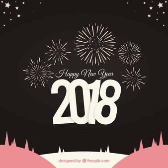 Bonne année 2018 fond avec feux d'artifice