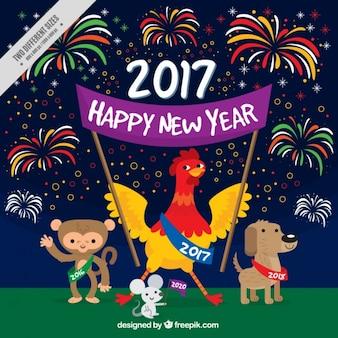 Bonne année avec feux d'artifice et des animaux
