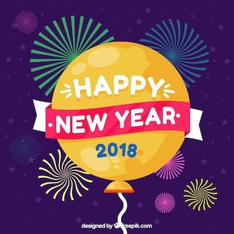Bonne année d'an 2018 avec ballon et feux d'artifice