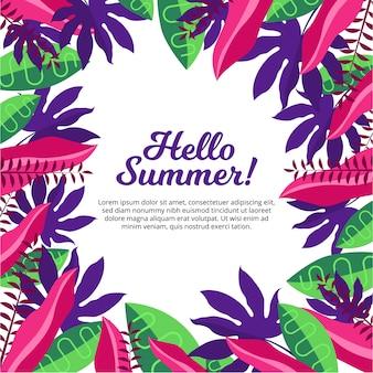 Bonne année d'été avec motif feuilles tropicales