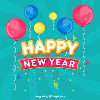 Bonne année de fond avec des ballons colorés en conception plate