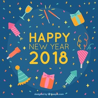 Bonne année de fond avec des éléments de célébration