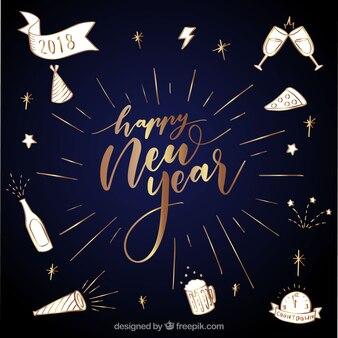 Bonne année fond d'or avec des dessins