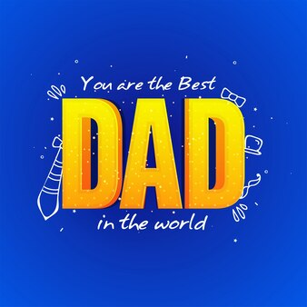 Bonne fête des fêtes modèle de carte de voeux avec le texte 3D Papa sur fond bleu