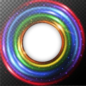 Bordure ronde avec lumière arc-en-ciel
