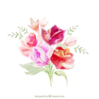 Bouquet floral dans le style d'aquarelle