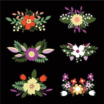 Bouquets floraux mignons, fleurs rétro